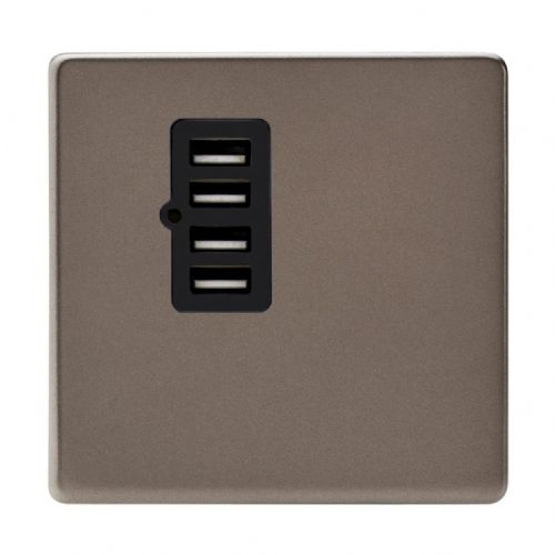 Varilight XDRU4BS Screwless Pewter 4 Gang 5V DC 4800mA USB Charging Port (Single Plate)